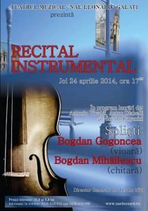 """La Teatrul Muzical """"Nae Leonard"""", recital instrumental cu Bogdan Gogoncea (vioară) şi Bogdan Mihăilescu (chitară)"""