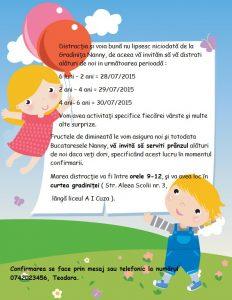 Grădiniţa Nanny invită copiii şi părinţii la activităţi gratuite de vacanţă. Sunt aşteptaţi şi piticii de sub 1 an