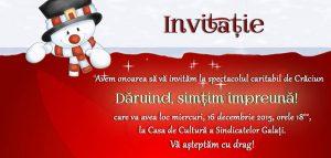 """Casa de Cultură a Sindicatelor, 16 ddecembrie: Spectacol caritabil de Crăciun -  """"Dăruind, simțim împreună"""""""