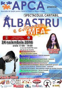 """Joi, 24 noiembrie 2016: Spectacol caritabil """"ALBASTRU e culoarea mea"""""""