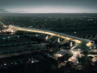Un impunător pod pietonal din Danemarca este construit cu oțel de la Galați