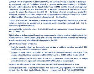 """Lansarea proiectului """"REABILITARE TERMICĂ ȘI CREȘTEREA PERFORMANȚEI ENERGETICE A CLĂDIRILOR CENTRULUI MULTIFUNCȚIONAL DE SERVICII SOCIALE GALAȚI"""""""